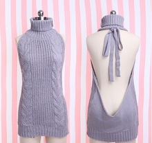 Cute&Sexy Japanese Tie Open Backless Long Virgin Killer Sweater Turtleneck Sleeveless Sweaters Gray Pullover Anime style