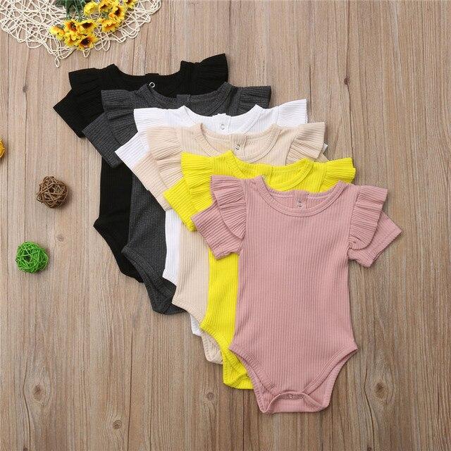 Sweet Ruffles Cotton Short Sleeve Newborn Baby Girls Bodysuit Leotard Tops Solid Color Soft Fashion Summer Baby Clothes