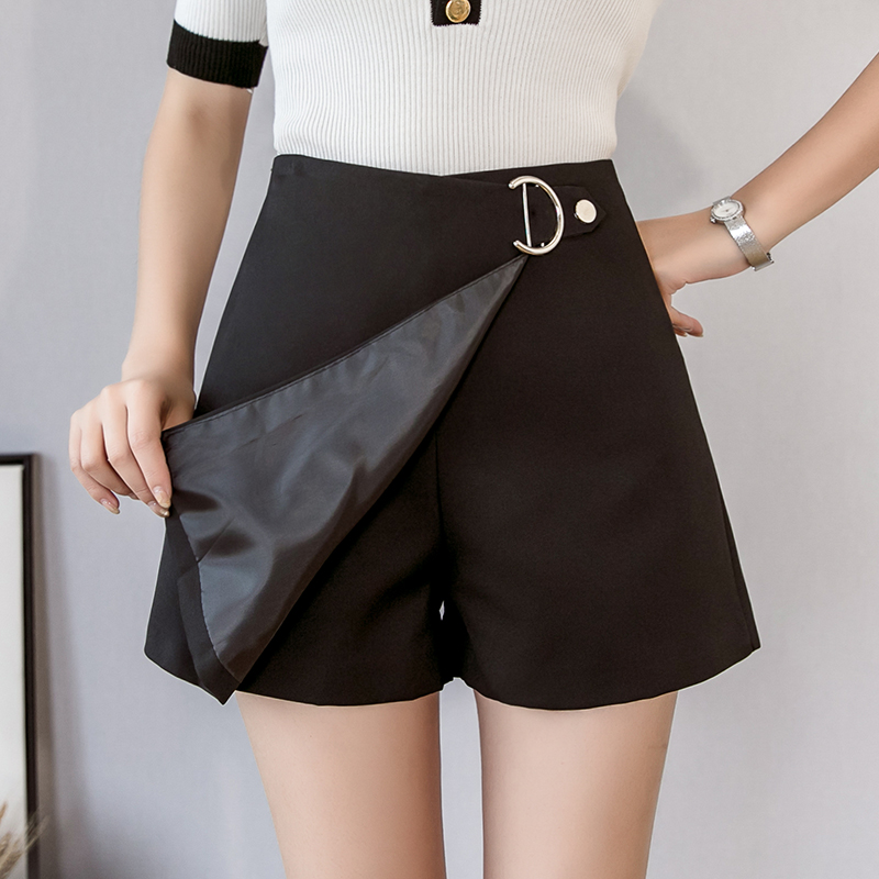 2019 Spring Summer Women's Shorts High Waist Wide Leg Elegant Office Lady Irregular Mini Shorts Skirts Black Hot Sale Fashion