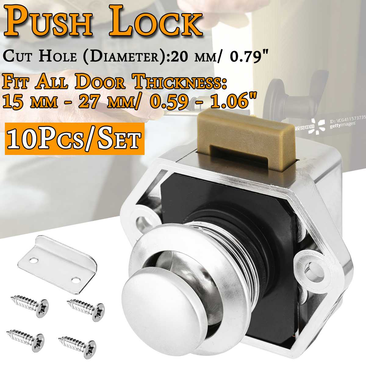 10pcs Car Push Lock Diameter 20mm RV Caravan Boat Motor Home Cabinet Drawer Latch Button Locks For Furniture Hardware