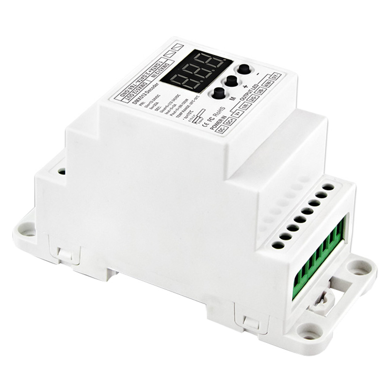New Fashion Bc-835-din-rj45 Dc12-24v Input 5a X 5ch Output Din Rail 5ch Cv Pwm Dmx512/1990 Decoder Controller For Led Strip Light Lamp Ac/dc Adapters