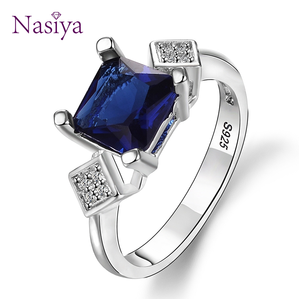 New Square Silver 925 Jewelry Rings Women's Finger Ring With Dark Blue Sapphire Gemstone Zircon Vintage Fine Jewelry Wholesale