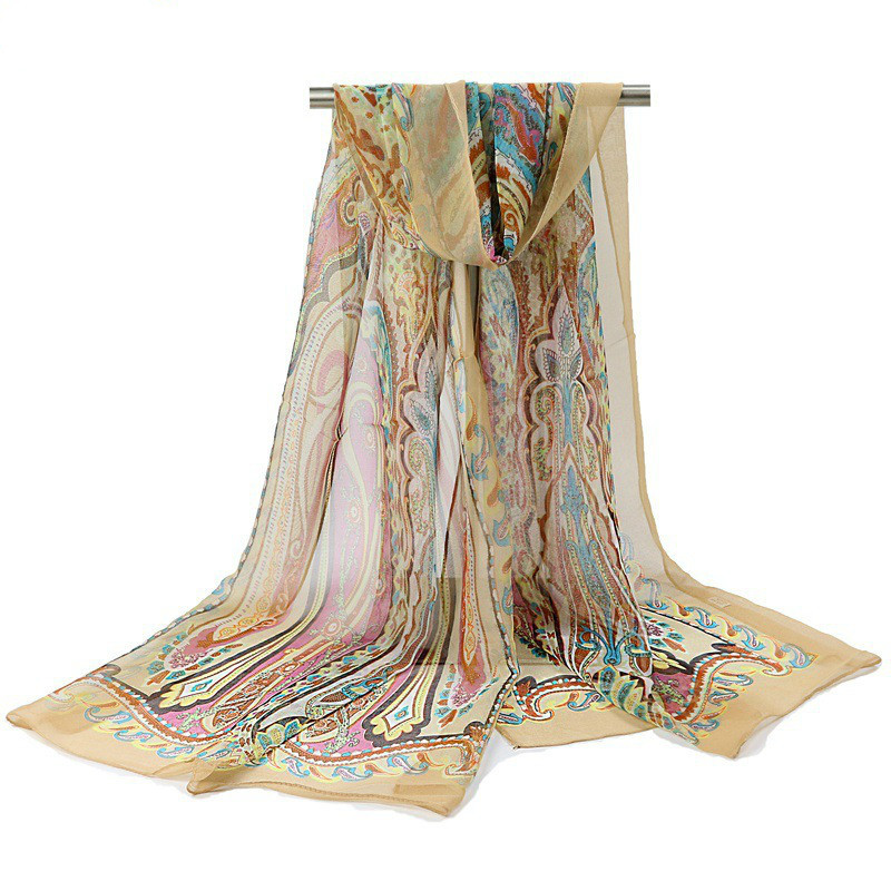 2019 High Quality Silk Scarf Natural Real Silk Women Long Scarves Shawl Female Hijab Wrap Summer Beach Cover-ups
