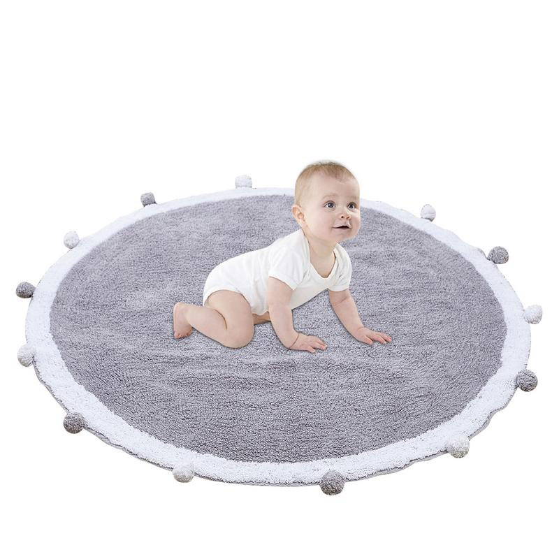 Children Carpet Kids Play plush Rug Play Game Mat Baby Sleep Nest Round Children Room Carpet Baby Gym Cartoon fur ball