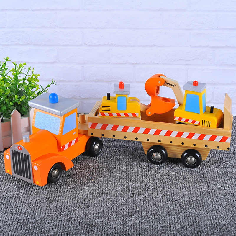 Wooden Carrying Excavator Bulldozer Child Truck Model Early Teaching Cognitive Educational Toy
