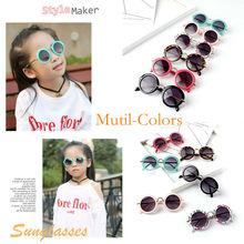 Дети анти-УФ очки конфеты Цвета детская одежда, для мальчиков и девочек, круглые солнцезащитные очки, очки, модные аксессуары