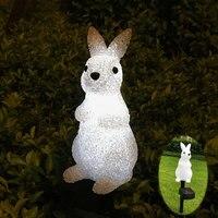 Oferta Iluminación de paisaje de festival Solar conejo Santa Claus muñeco de nieve lámpara LED iluminación de