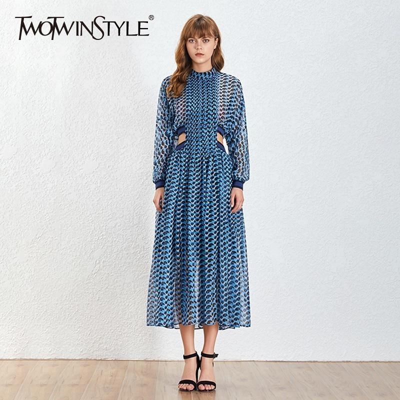Deuxtwinstyle Style bohème col montant une ligne femmes robe à manches longues imprimer évider femmes robes mode 2019 nouvelle marée