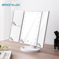 smartloc 2X Magnifying LED Light Touch Screen Desktop Makeup Mirror Bathroom Bath Mirrors Vanity Toilet Cosmetic 360 Rotating