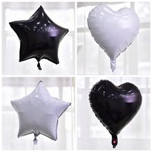 Taoup Black Happy Childrens Birthday Balloons Figures Love Heart Pentagram Round Ballons Accessories Foil Wedding