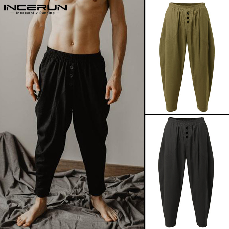 Harajuku Men Harem Pants Hiphop Yogo-Pants Solid Ethnic Trousers Bottom Elastic Waist Baggy Button Decor Joggers 2020 Pantalon