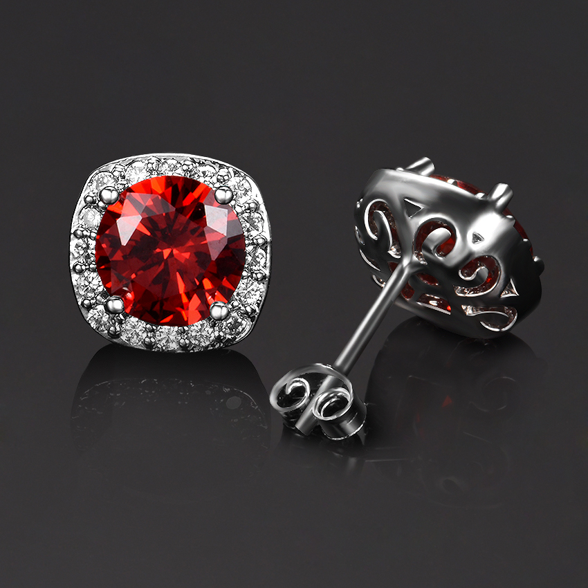 925-Sterling-Silver Jewelry Earring Ruby Emerald Citrine Women's Anniversary 3-Colors