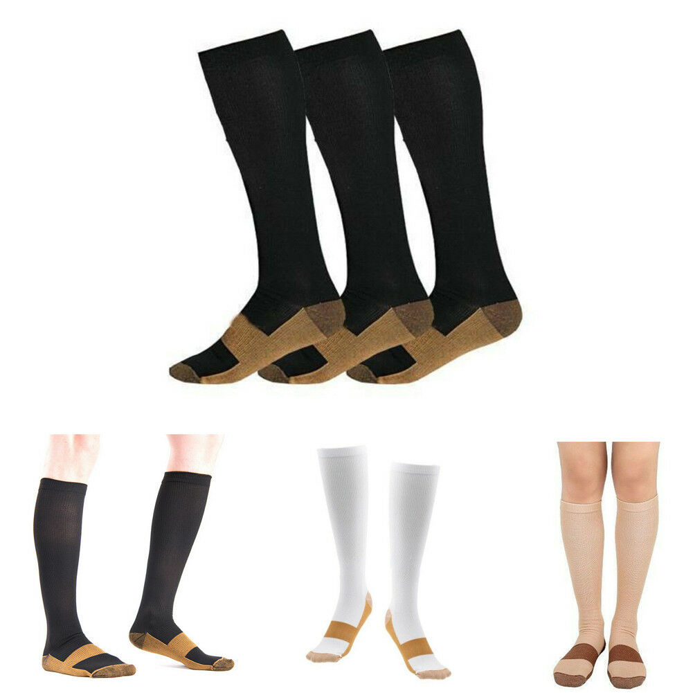 Unisex Copper Infused Compression Graduated Men Women's S-XXL 20-30 MmHg Knee High Outdoor Running Stockings