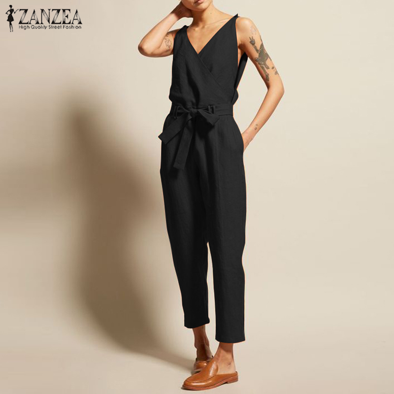 ZANZEA Overalls Women's   Jumpsuits   2019 Vintage Linen Pantalon V Neck Sleeveless Playsuits Female Casual Belt Summer Pants Femme