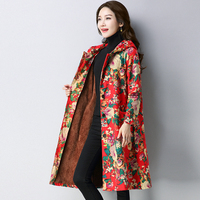Winter Thick Warm Velvet Women Single Breasted Trench Coats Long Sleeve Female Hooded Floral Printing Overcoat Manteau Femme