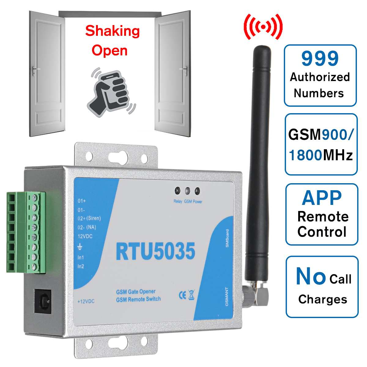 GSM Gate Opener Relay Switch RTU5035 Operator Sliding Remote Access Phone Shaking Control Door Opening Function Wireless Opener