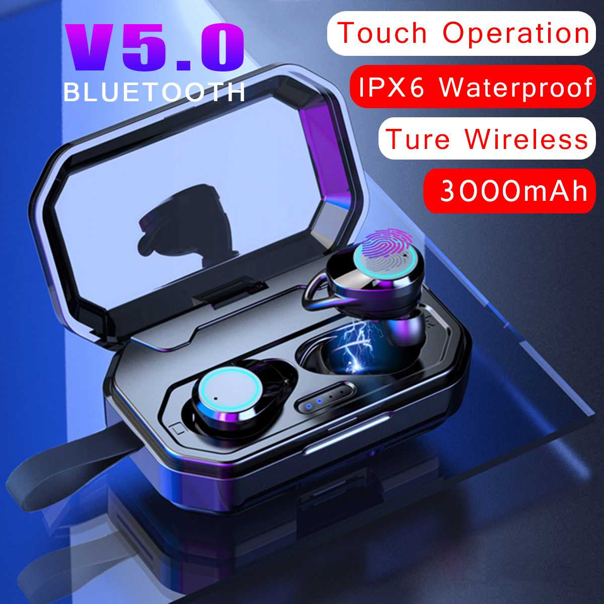 Active Bluetooth V5.0 Tws Wireless Earphone Touchs Control Cvc8.0 Noise Cancellings Earbuds 3000mah Charging Box Power Bank For Iphone To Ensure A Like-New Appearance Indefinably