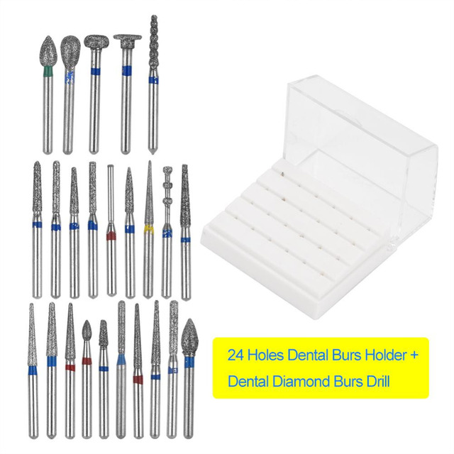 Dental Diamond Burs Set For Porcelain Shouldered Abutment Polishing 24PCS FG1.6