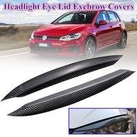 1Pair Headlights Eyebrow Eyelids Real Carbon Fiber Stickers Covers For Volkswagen forVW Golf 7 GTI GTD Mk7 GTI R Rline 2013 2018