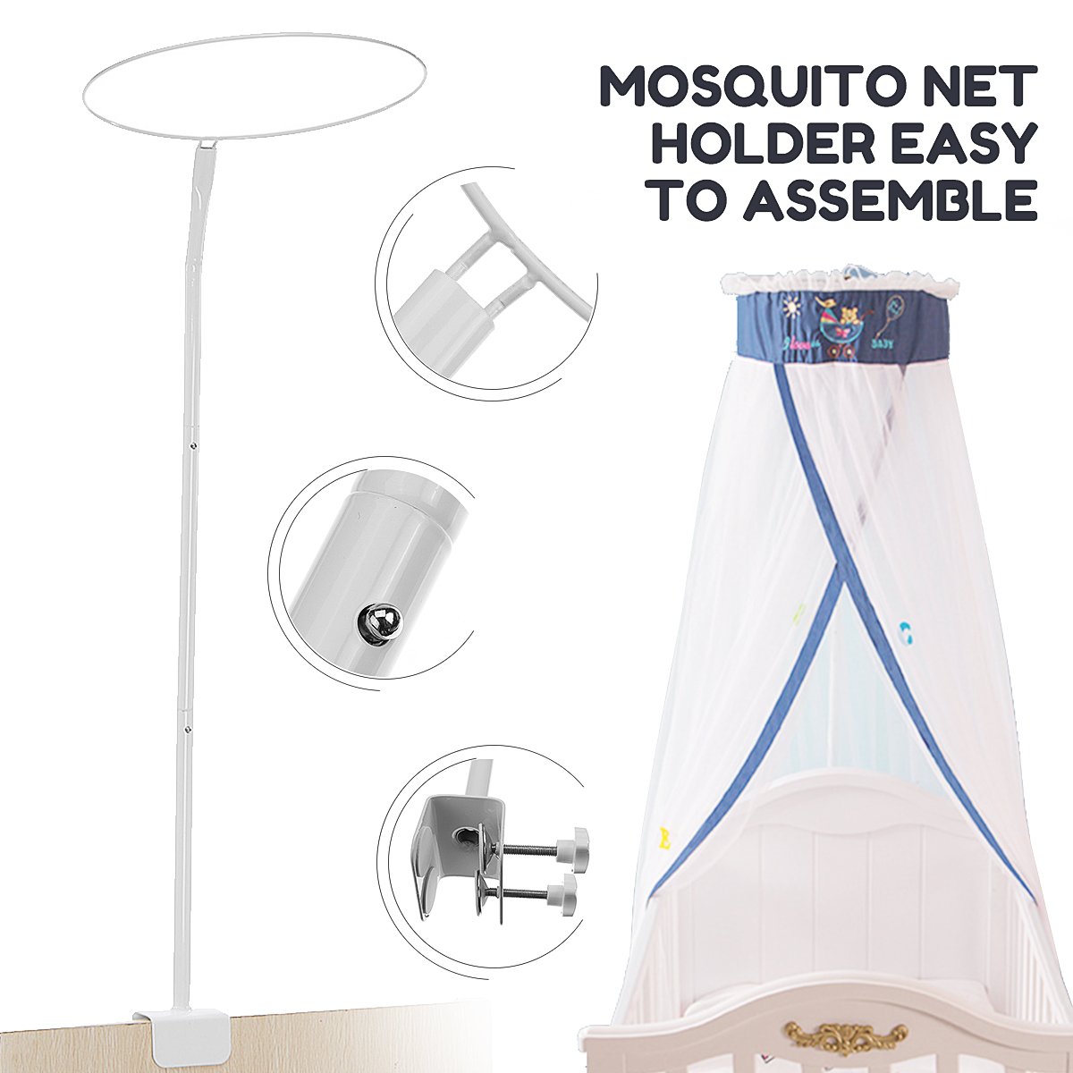 Summer Mosquito Net Stand Crib Net Holder Baby Crib Mosquito Netting Holder Universal Canopy Drape Holder Bed Support