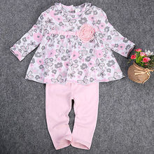 2016 Newest 12 18 24M Baby Girl Floral Peplum Printed Long Sleeve Top+Pants Outfits 2PCS Clothes Suits Set 2019