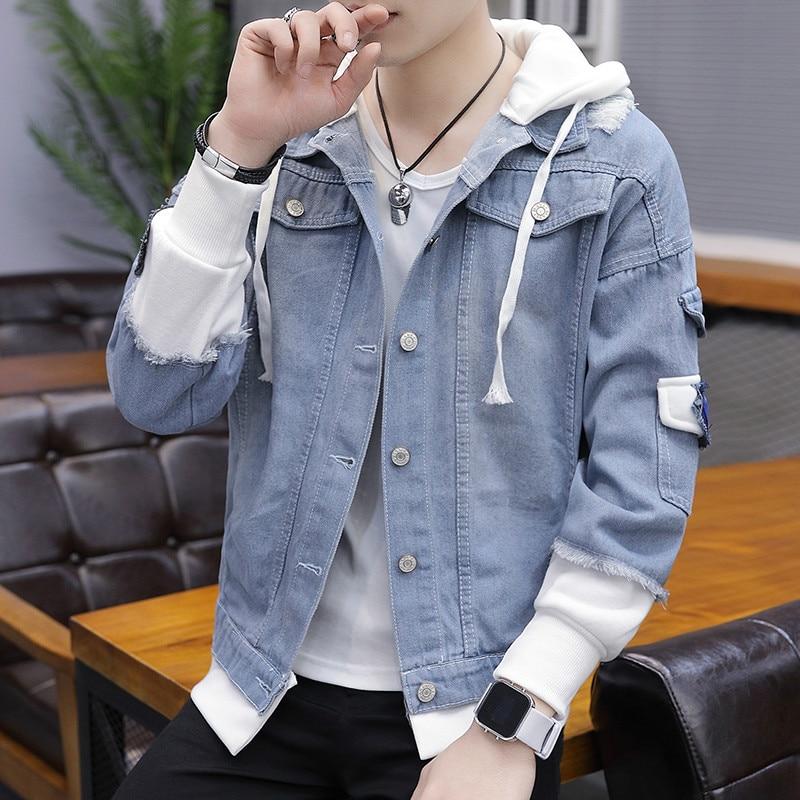 Men/'s Denim Hood Jeans Jacket Boys Waist Windbreaker Coat Men cowboy clothes