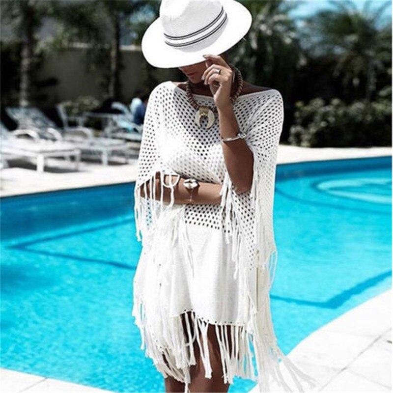 Women Tassel Rents Crochet Bikini White Tops Brazilian Cover Up Swimwear Beach Dress Mini Kaftan Beachwear Tunic Sexy Swimsuit