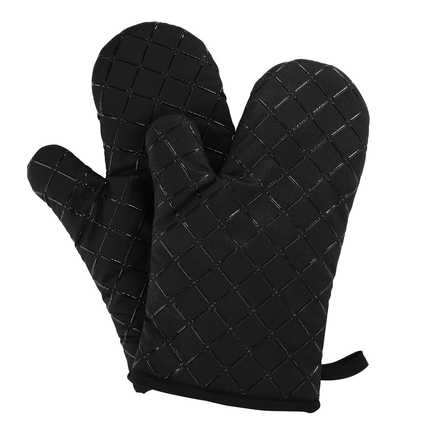 Oven Gloves Non-Slip Kitchen Oven Mitts Heat Resistant Cooking Gloves for Cooking, Baking, Barbecue Potholder, Black, 1 Pair
