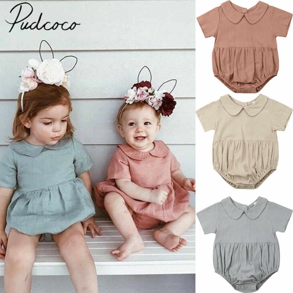 2019 Baby Summer Clothing Cute Infant Baby Girls Boys Solid Bodysuits Peter Pan Collar Jumpsuits Outfits Clothes Casual Playsuit