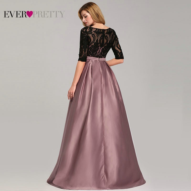 Contrast Color Evening Dresses Ever Pretty EP07866 2019 A Line O Neck Empire Lace Bow Elegant Sexy Party Gowns Robe De Soiree in Evening Dresses from Weddings Events