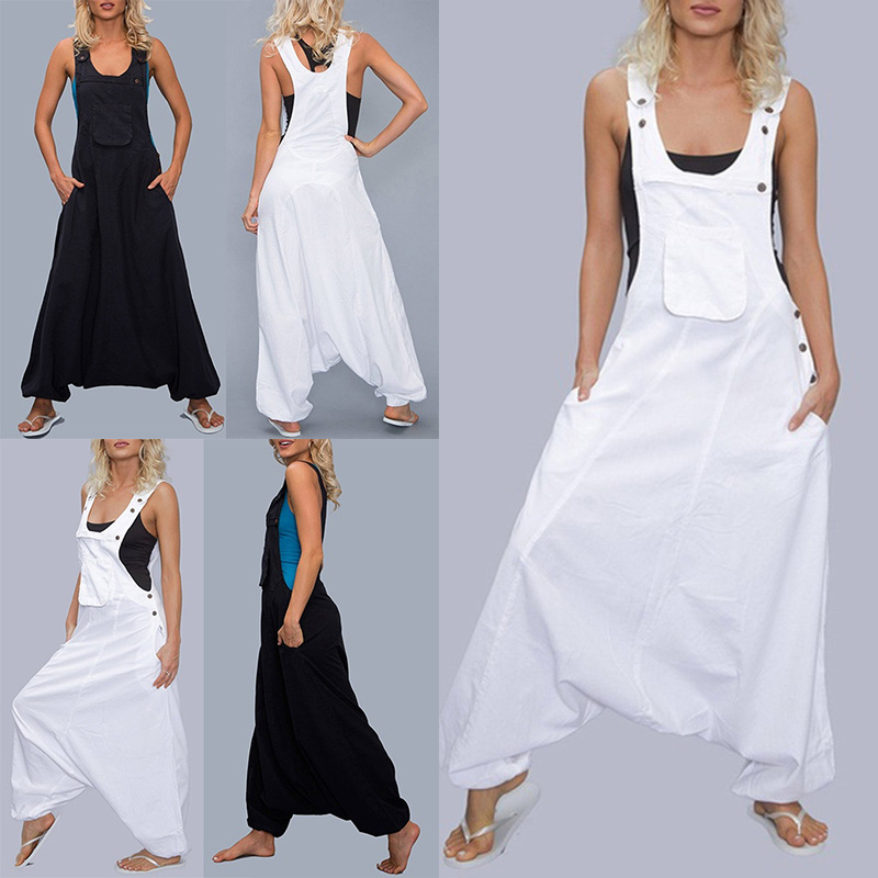Women Loose   Jumpsuit   Casual Overalls Drop Crotch Romper Pockets Sleeveless 2019 Summer   Jumpsuits
