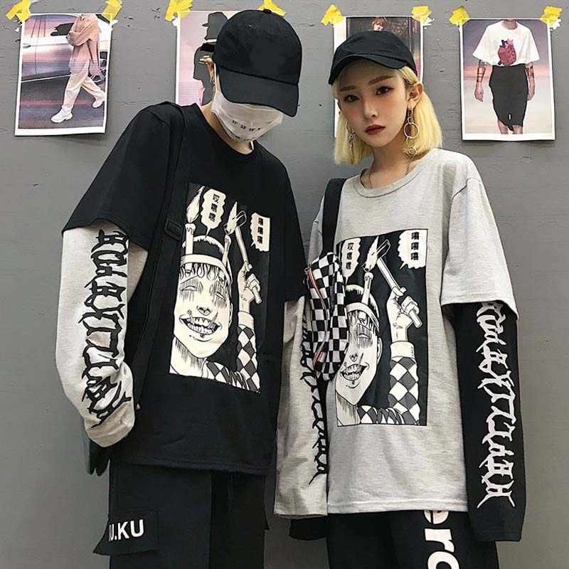NiceMix Harajuku Felpa Delle Donne Patchwork Unisex Pullover Stampa Giapponese Comics Ponticelli Falso 2 Pezzi Camicia Donna Streetwear