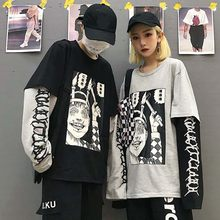 NiceMix Harajuku Sweatshirt Women Patchwork Unisex Pullovers Print Japanese Comics Jumpers Fake 2 Pieces Shirt Woman Streetwear(China)