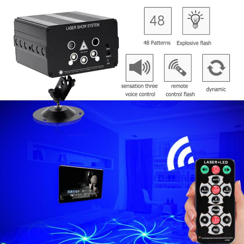 5 Holes 48 Pattern LED Laser Projector Mini Voice Control Stage Flash Light DJ Disco Club Outdoor Indoor Dancing Party Ballroom5 Holes 48 Pattern LED Laser Projector Mini Voice Control Stage Flash Light DJ Disco Club Outdoor Indoor Dancing Party Ballroom