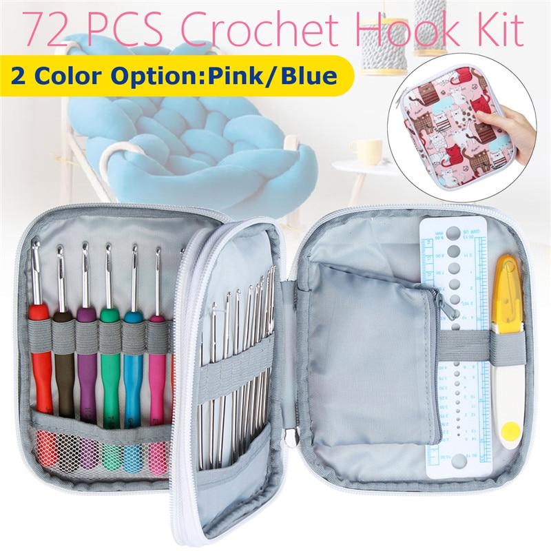 72Pcs DIY Crochet Hooks Kit Yarn Knitting Needles Sewing Tools Grip Bags Set Portable Yarn Knitting Hook Needles Sewing Tools 4