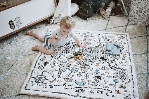Органическая квадратная качественная стеганая карта мира проводник | очень большой органический игровой коврик для малышей и детей