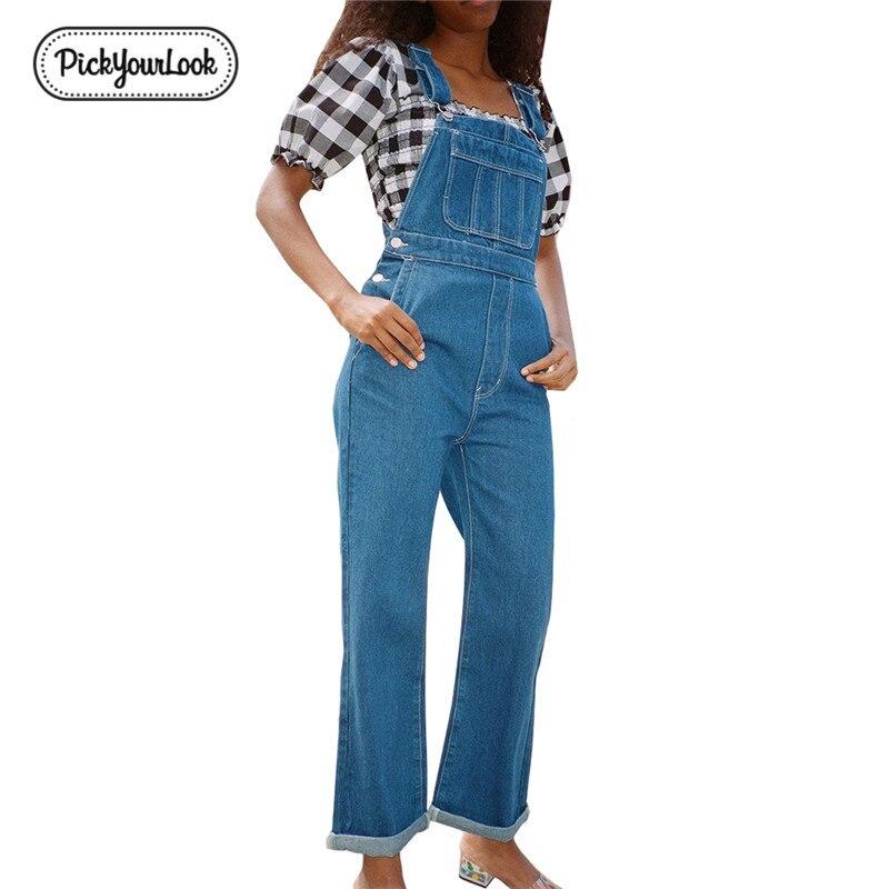 Pickyourlook Women Overalls Jeans Denim Blue Belted Pocket Button Female Jumpsuit Romper Fashion Streetwear Lady Body Bodysuit