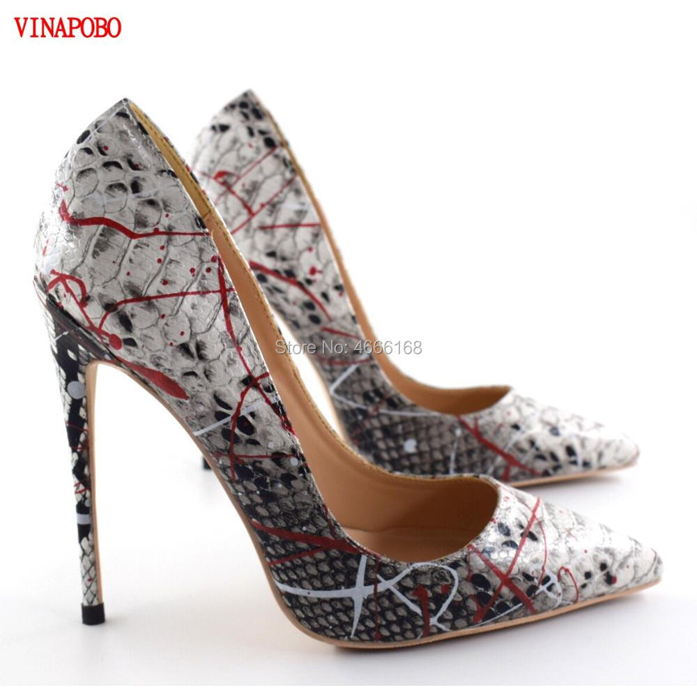 Brand Shoes Woman Snake Print Women Shoes Sexy High Heels Pumps Pointed Toe Ladies Party Wedding