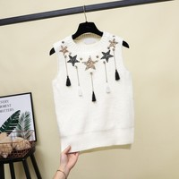 Star pattern knitted pullovers tank tops women 2019 summer t shirt hot drilling tassel sequins S XL 2colors