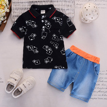 New Baby Short Sleeve Two-piece Suit for Children 0-4 Years Old Casual Geometric Lapel Denim Shorts Kids Sets