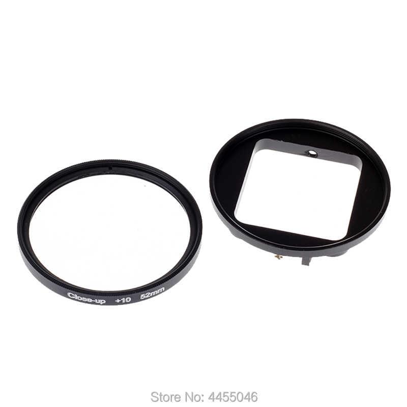 Для Gopro 4/3 + фильтр 52 мм крупным планом + 10 макро объектив адаптер кольцо для gopro Hero 4/3 +/3 водонепроницаемый чехол Аксессуары для стекла