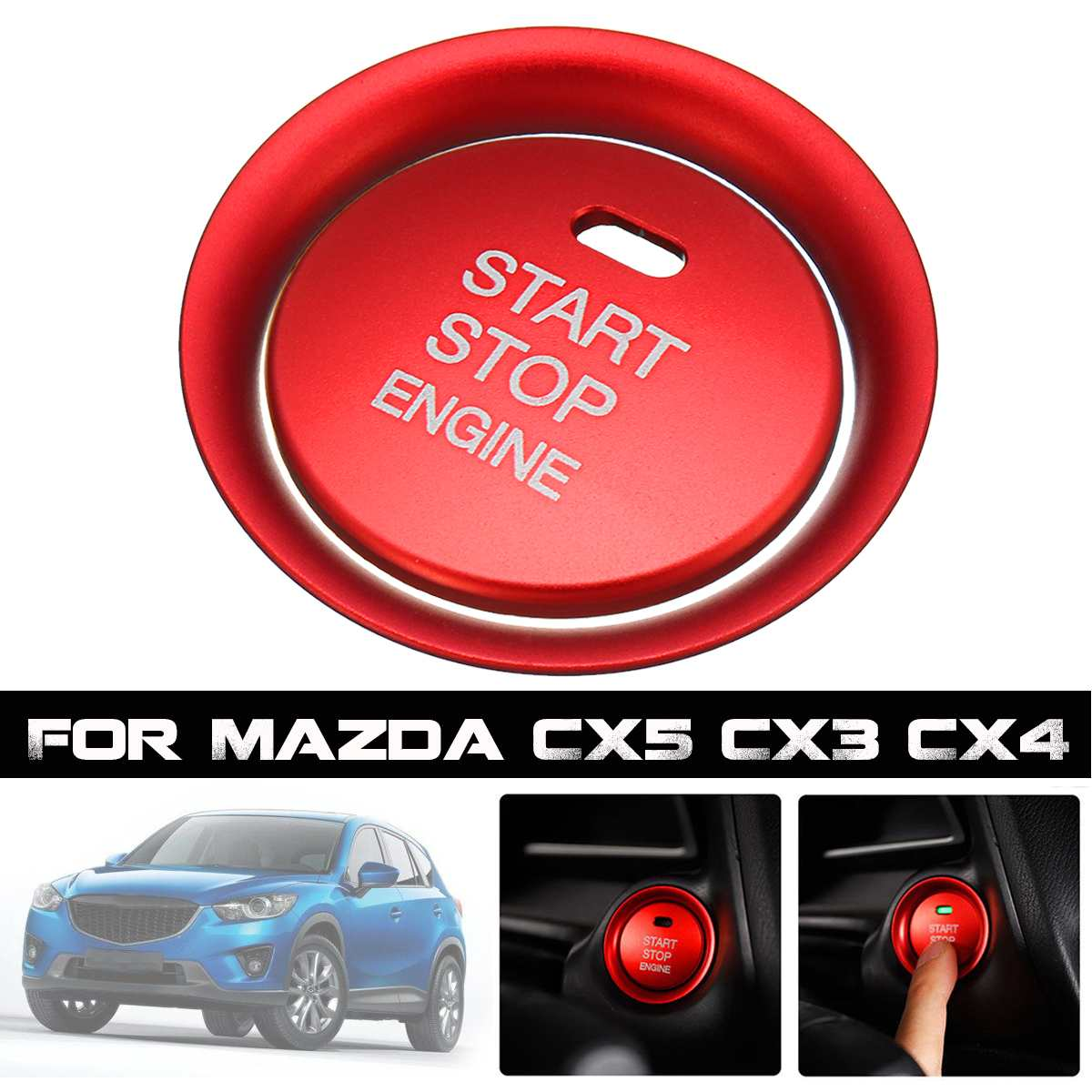 Car Engine Start Stop Push Switch Button Cover + Ring Trim for <font><b>Mazda</b></font> <font><b>CX5</b></font> CX3 CX4 Upgrade Car Styling Button Cover image
