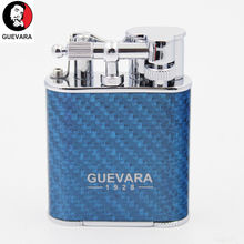 Guevara Windproof Cigar Lighter Double Jet Flame 2 Torch Portable with cigar puch for best Gift puch card