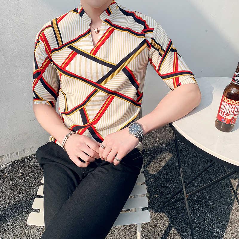 Новая летняя Модная рубашка в полоску с коротким рукавом для мужчин, уличная рубашка для мужчин, гавайская рубашка для праздников, мужские рубашки