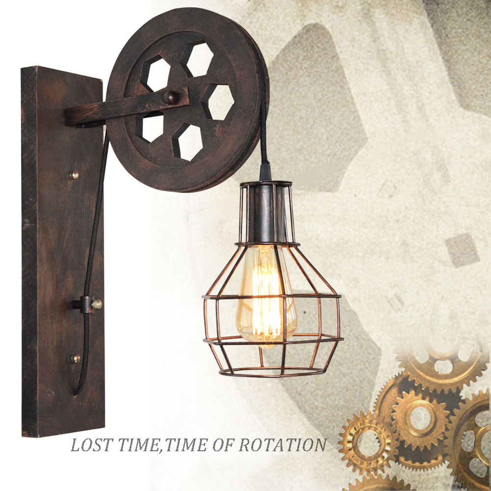 Study Room Wall Light Wall Lamp European Antiqued Vintage Metal Iron Energy-saving Pendant Lifting Pulley Loft Foyer Bed Room