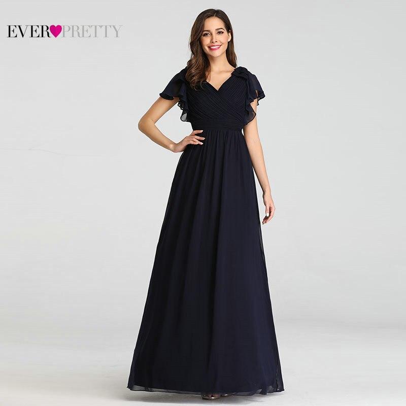 Ever Pretty Navy Blue Elegant Evening Dresses 2019 Long A-line Chiffon V-neck Elegant Party Gowns Plus Size Wedding Party Gowns