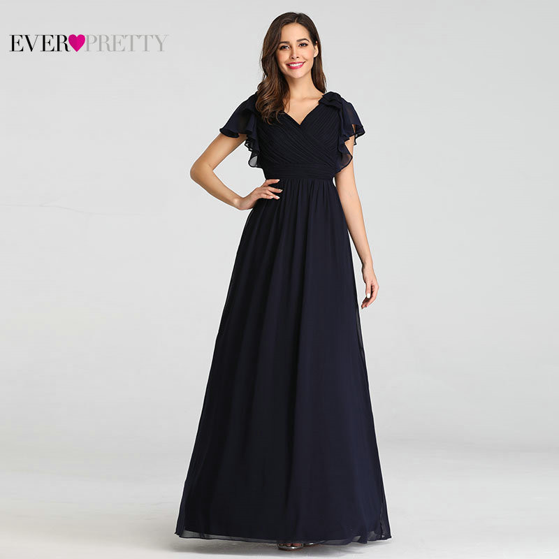 Ever Pretty Navy Blue Elegant Evening Dresses 2019 Long A-line Chiffon V-neck Elegant Party Gowns Plus Size Wedding Party Gowns