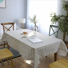 New Tablecloth Waterproof Small Fresh Square Plaid Modern Cotton Linen Art White Black Coffee Rectangular Table Cloth