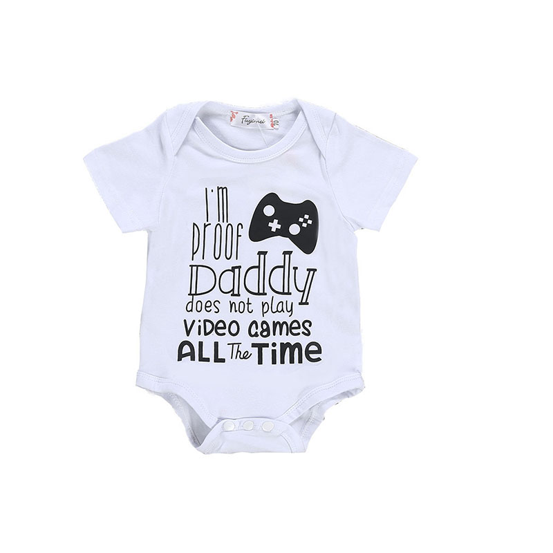 Pudcoco Newborn Baby Boy Romper Jumpsuit Playsuit Sunsuit Summer Clothes  I Am Proof Daddy Does Not Play Video Game All The Time