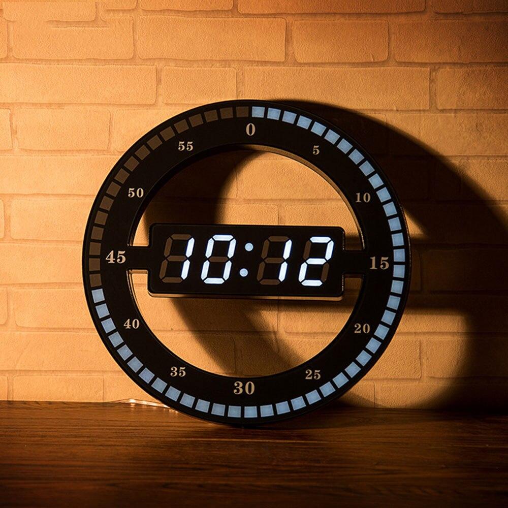 Black Circle Automatically Adjust Brightness Digital Led Display Desktop Table Clock Creative Mute Hanging Wall Clock